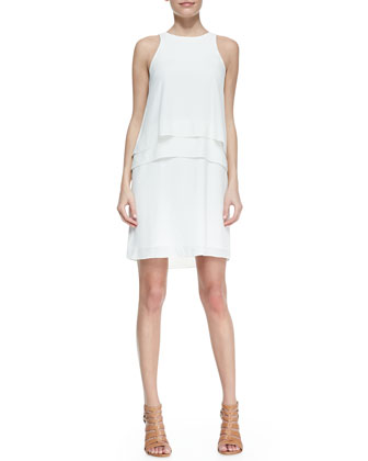 Sleeveless Two-Tier Middle Dress, Ivory
