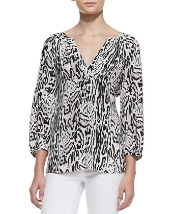 Addie 3/4-Sleeve Animal-Print Top