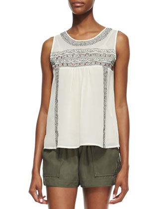 Noristelle Silk Embroidered Tank Top