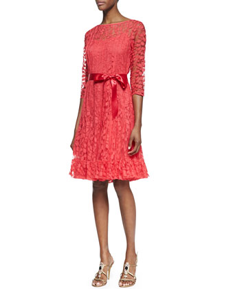 3/4-Sleeve Lace Overlay Cocktail Dress, Watermelon