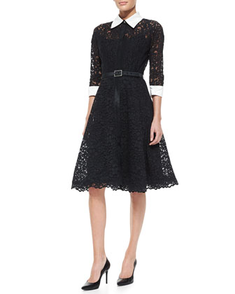 3/4-Sleeve Lace Cocktail Shirtdress with Embellished Buckle Belt