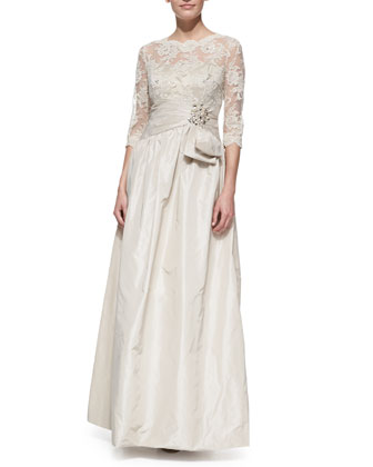 Elbo -Sleeve Lace & Taffeta Gown