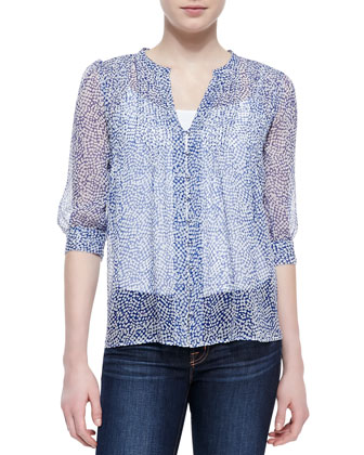 Lauren Printed-Silk 3/4-Sleeve Blouse
