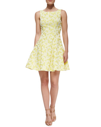 Veronica Cutout Back Butterfly-Print Cocktail Dress