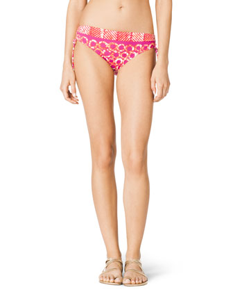 Mixed-Print Swim Top & Side-Ruch Swim Bottom