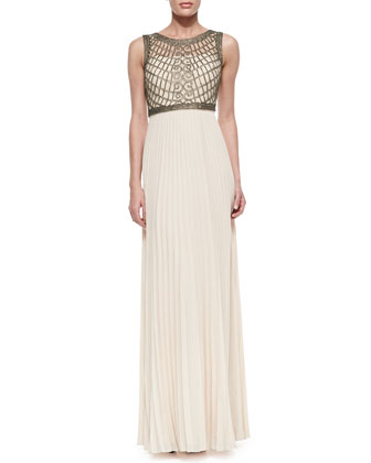 Sleeveless Mesh-Bodice Gown