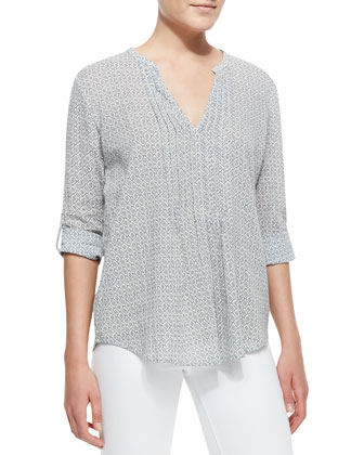 Ray Printed-Voile V-Neck Blouse