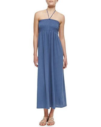 Acadia Smocked Linen-Blend Halter Maxi Dress, Vintage Indigo