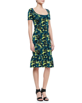 Wren Floral-Print Ruffle-Hem Dress