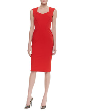 Abbey Sleeveless Curved Seam Dress, Cardinal