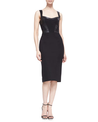 Marialena Leather-Trim Cocktail Dress