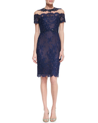 Short-Sleeve Illusion-Neck Lace Cocktail Dress
