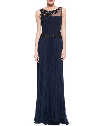 Sleeveless Gown with Lace Top & Waist Detail
