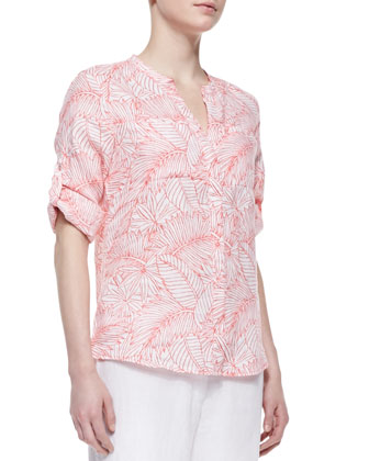 Penciled Palm Linen Shirt
