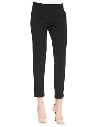 Skinny Ankle Pants with Cuffed Hem, Black