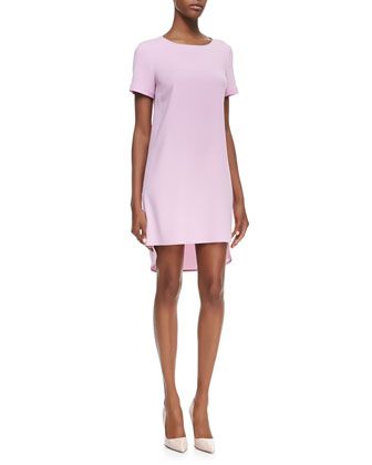 Short-Sleeve High-Low Hem T-Shirt Dress, Cosmos Pink