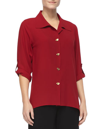 Crepe Button-Front Shirt, Women's