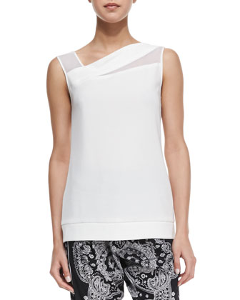 Sleeveless Mesh Insert Blouse, White