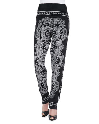 Paisley-Print Pants, Black/White