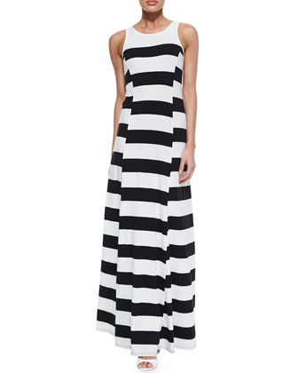 Striped Crewneck Maxi Dress, Black/White