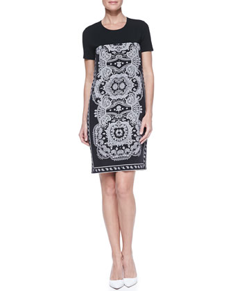 Short-Sleeve Paisley-Print Dress