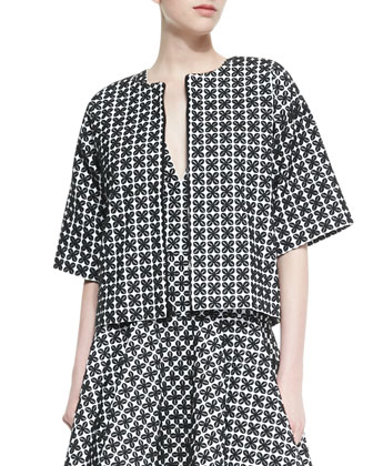 Printed Elbow-Sleeve Boxy Jacket & Sleeveless Printed Dress with Flared Skirt