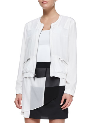 Long-Sleeve Zip-Front Jacket with Mesh Inserts & Pull-on Layered Colorblock ...