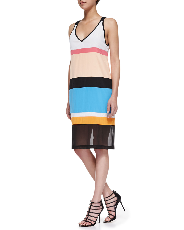 Womens Sleeveless Colorblock Dress with Mesh Hem   DKNY   Blk/Trp/Mar/Mul