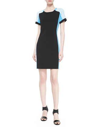 Short-Sleeve Colorblock Sheath Dress