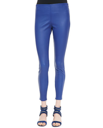 Cropped Leather Leggings, Electric Blue