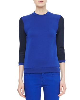 3/4-Sleeve Colorblock Knit Tee
