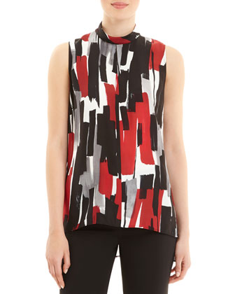 Stassi Sleeveless Brushstroke-Print Blouse
