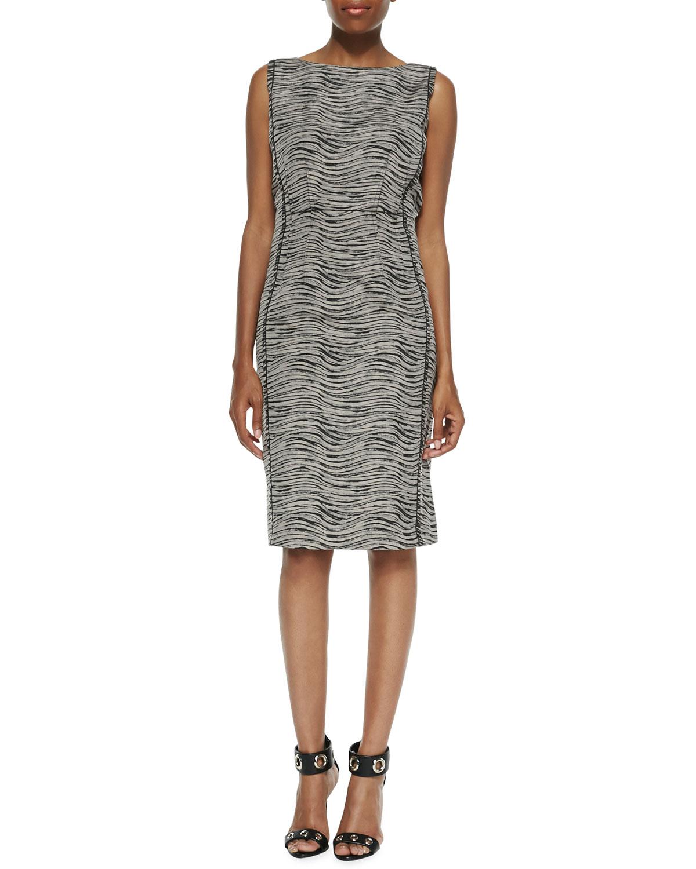 Womens Viola Sleeveless Printed Sheath Dress   Lafayette 148 New York   Black