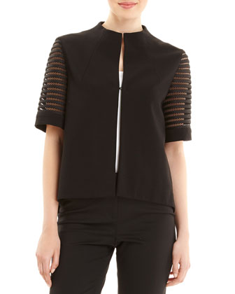 Short-Sleeve Jacket with Lattice Stripe Sleeves