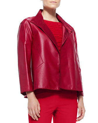 McKenna Lambskin Leather Topper Jacket, Reptile Textured-Front Tank & ...
