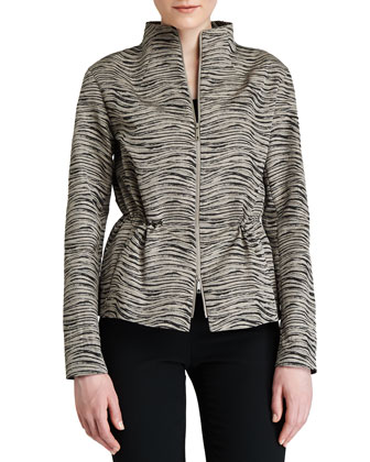 Julian Zip-Front Print Topper Jacket