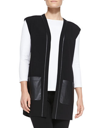 Faux-Leather-Trim Knit Open Vest, Crewneck 3/4-Sleeve Tee & Stretch Viscose ...