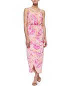 Palm-Print Silk Tulip Maxi Dress, Pink