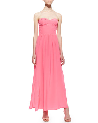 Mimosa Strapless Pleated Maxi Dress, Pink Ribbon