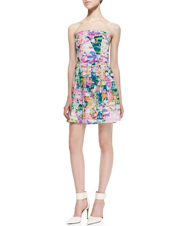 Womens Strapless Geometric Garden Print Dress   Amanda Uprichard Loves Cusp