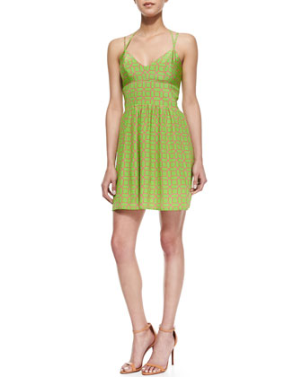 Whenever Octagon-Print Sundress, Green/Pink
