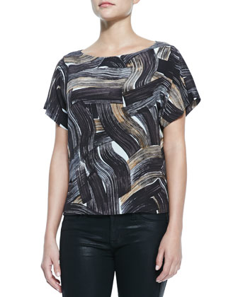Shauna Short-Sleeve Brushstroke-Print Blouse