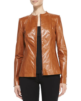 Yelena Zip-Front Leather Jacket