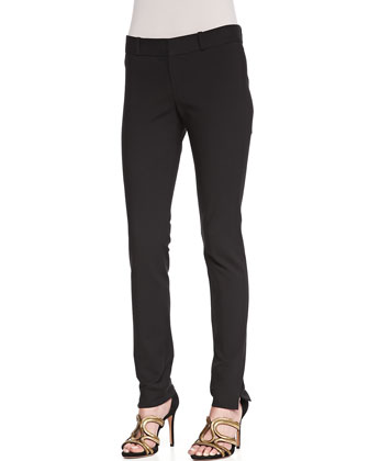 Skinny Vented-Hem Pants, Black
