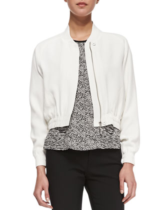 Cropped Bomber Jacket, Ivory