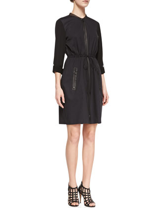 Jennifer Long-Sleeve Zip Shirtdress, Black