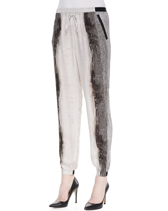 Emmy Horizon-Print Silk Pants