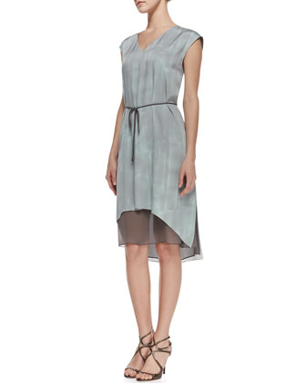 Dorene Sleeveless Tie-Waist Dress, Soft Sky