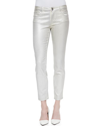 Zoanne Sleeveless Python-Print Top & Diedre Coated Silver Jeans
