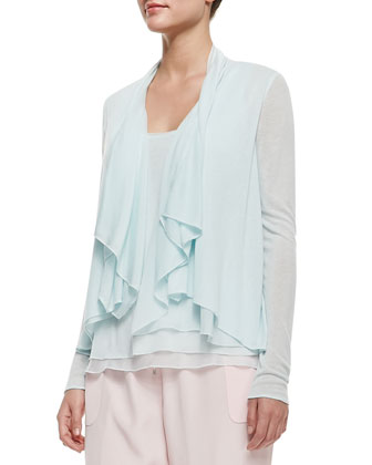Follia Double-Layer Scoop-Neck Tank, Farrell Long-Sleeve Draped ...